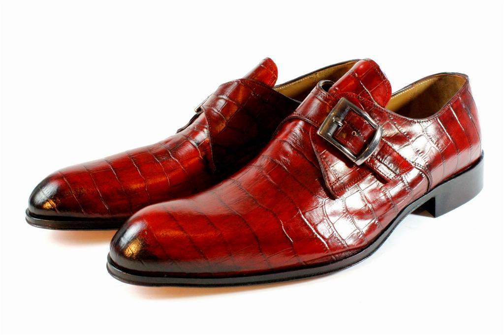 Ivan Troy Lauren Red Embossed Crocodile Handmade Monk Strap Italian Leather Dress Shoes